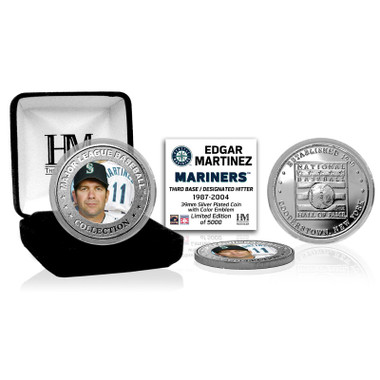 Highland Mint Edgar Martinez Seattle Mariners Hall of Fame Silver Photo Coin