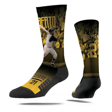 Men's Strideline Roberto Clemente Swing Full Image Premium Crew Socks