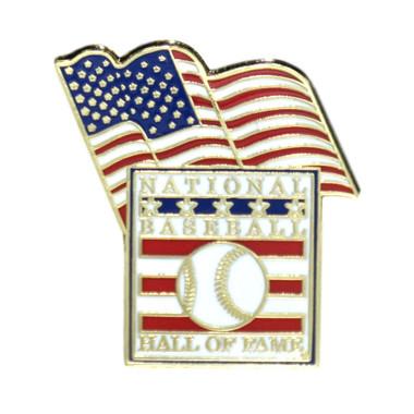 Baseball Hall of Fame American Flag Pin