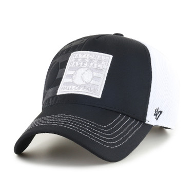 Men's '47 Brand Baseball Hall of Fame Logo Flagon Adjustable Black and White Cap