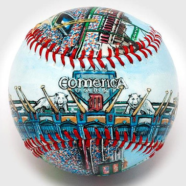 Comerica Park Unforgettaballs Limited Commemorative Baseball with Lucite Gift Box