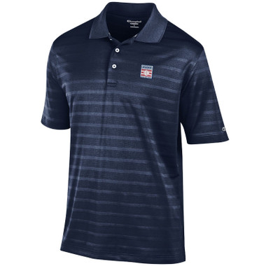 Men's Champion Baseball Hall of Fame Navy Textured Solid Polo Shirt