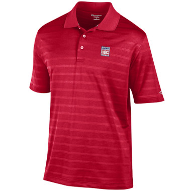 Men's Champion Baseball Hall of Fame Red Textured Solid Polo Shirt