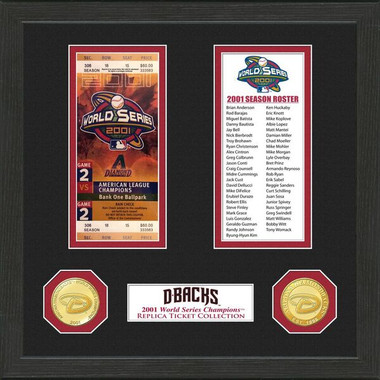 Highland Mint Arizona Diamondbacks Framed World Series Replica Ticket Collection