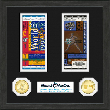 Highland Mint Miami Marlins Framed World Series Replica Ticket Collection