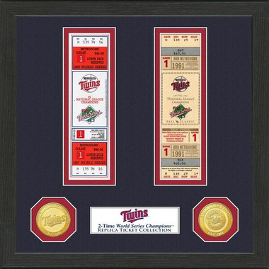 Highland Mint Minnesota Twins Framed World Series Replica Ticket Collection