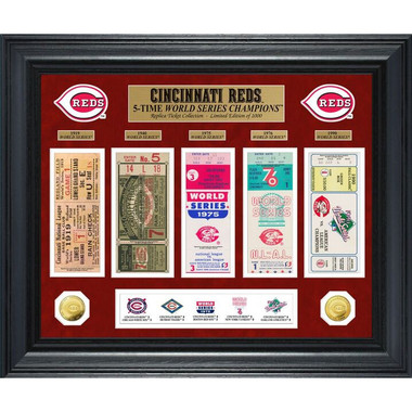 Highland Mint Cincinnati Reds World Series Deluxe Framed Gold Coin & Replica Ticket Collection