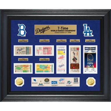 Highland Mint Los Angeles Dodgers World Series Deluxe Framed Gold Coin & Replica Ticket Collection