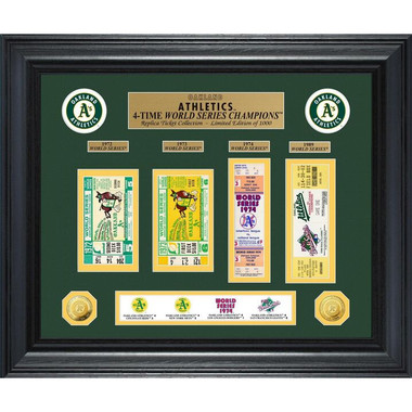 Highland Mint Oakland Athletics World Series Deluxe Framed Gold Coin & Replica Ticket Collection