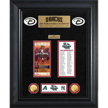 Highland Mint Arizona Diamondbacks World Series Deluxe Framed Gold Coin & Replica Ticket Collection