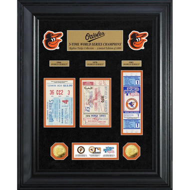 Highland Mint Baltimore Orioles World Series Deluxe Framed Gold Coin & Replica Ticket Collection