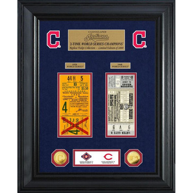 Highland Mint Cleveland Indians World Series Deluxe Framed Gold Coin & Replica Ticket Collection