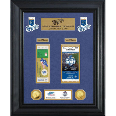 Highland Mint Kansas City Royals World Series Deluxe Framed Gold Coin & Replica Ticket Collection