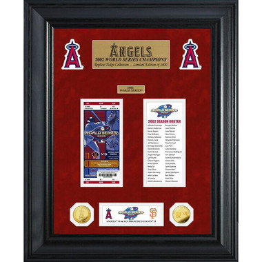 Highland Mint Los Angeles Angels World Series Deluxe Framed Gold Coin & Replica Ticket Collection