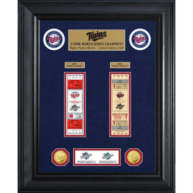 Highland Mint Minnesota Twins World Series Deluxe Framed Gold Coin & Replica Ticket Collection