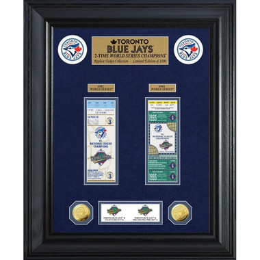 Highland Mint Toronto Blue Jays World Series Deluxe Framed Gold Coin & Replica Ticket Collection