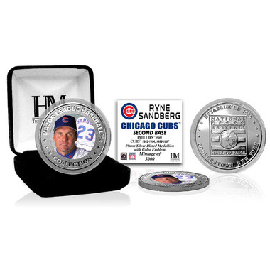 Highland Mint Ryne Sandberg Chicago Cubs Hall of Fame Silver Photo Coin
