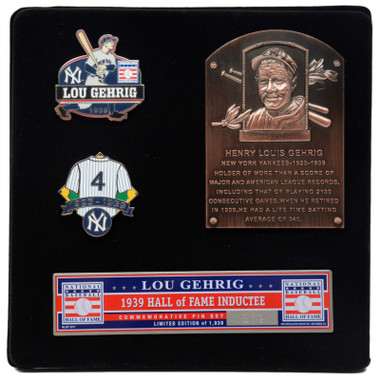 Lou Gehrig Hall of Fame Exclusive 3 Piece Pin Set with Plaque Bust Ltd Ed of 1,939