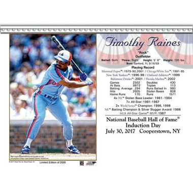 Tim Raines Montreal Expos 2017 Hall of Fame Induction 8x10 Photocard