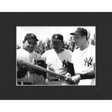 Matted 8x10 Photo- Yogi Berra, Ralph Houk, and Joe DiMaggio