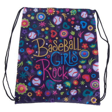 Baseball Hall of Fame Baseball Girls Art Drawstring Bag