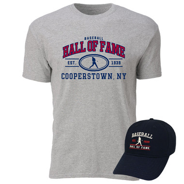 Men's Baseball Hall of Fame Batter Cap & T-Shirt Bundle