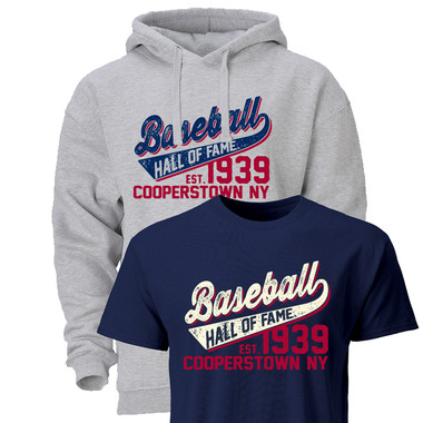 Men's Baseball Hall of Fame Established 1939 Hood & T-Shirt Bundle