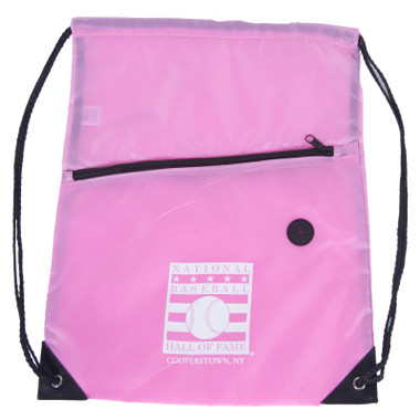 Baseball Hall of Fame Logo Pink Back Sack Drawstring Bag