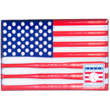 Baseball Hall of Fame Bat Flag Magnet
