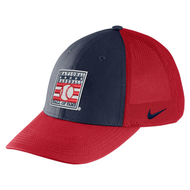 Youth Nike Baseball Hall of Fame Red with Navy Aero Mesh Swoosh Flex Fit Cap