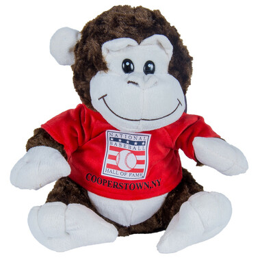 "Baseball Hall of Fame 13"" Plush Monkey with Red HOF T-Shirt"
