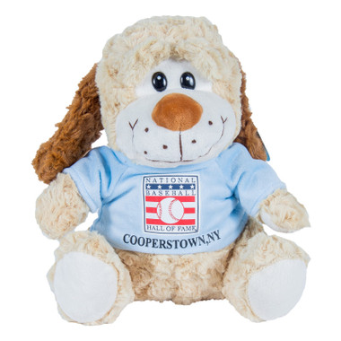 "Baseball Hall of Fame 13"" Plush Puppy Dog with Light Blue HOF T-Shirt"