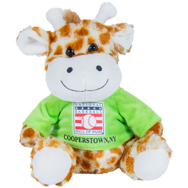 "Baseball Hall of Fame 13"" Plush Giraffe with Green HOF T-Shirt"