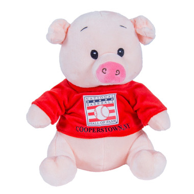 "Baseball Hall of Fame 13"" Plush Pig with Red HOF T-Shirt"