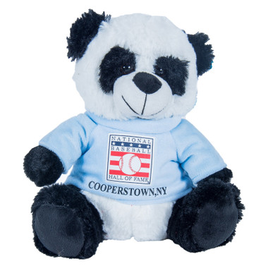 "Baseball Hall of Fame 13"" Plush Panda Bear with Light Blue HOF T-Shirt"