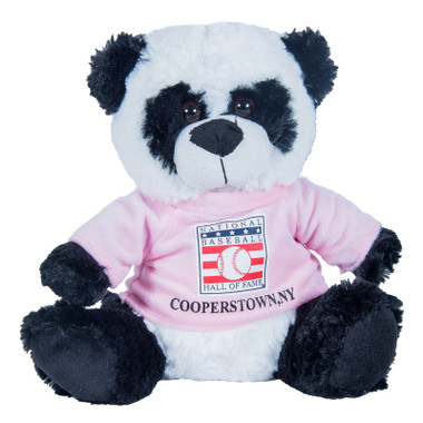 "Baseball Hall of Fame 13"" Plush Panda Bear with Pink HOF T-Shirt"