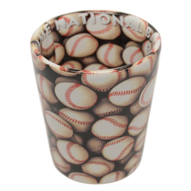 Baseball Hall of Fame Wrap-around Baseballs Shot Glass