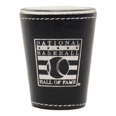 Baseball Hall of Fame Black Leather Shot Glass
