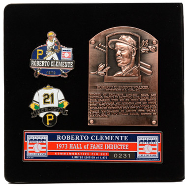 Roberto Clemente Hall of Fame Exclusive 3 Piece Pin Set with Plaque Bust Ltd Ed of 1,973