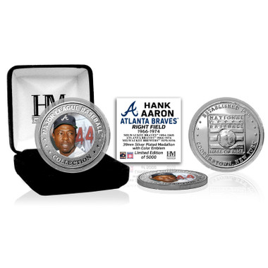 Highland Mint Hank Aaron Atlanta Braves Hall of Fame Silver Photo Coin