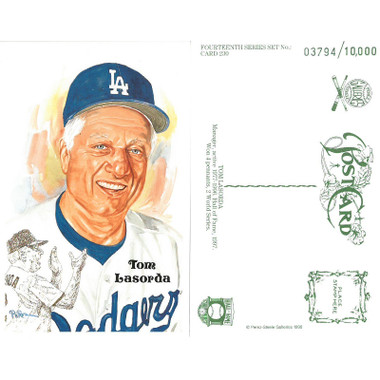 Perez-Steele Tom Lasorda Limited Edition Postcard