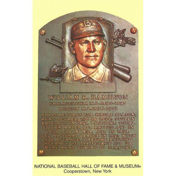 Billy Hamilton Baseball Hall of Fame Plaque Postcard
