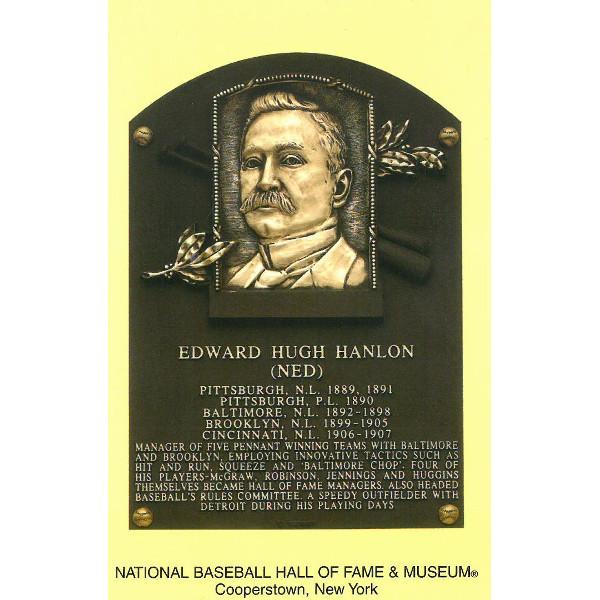 Ned Hanlon Baseball Hall of Fame Plaque Postcard