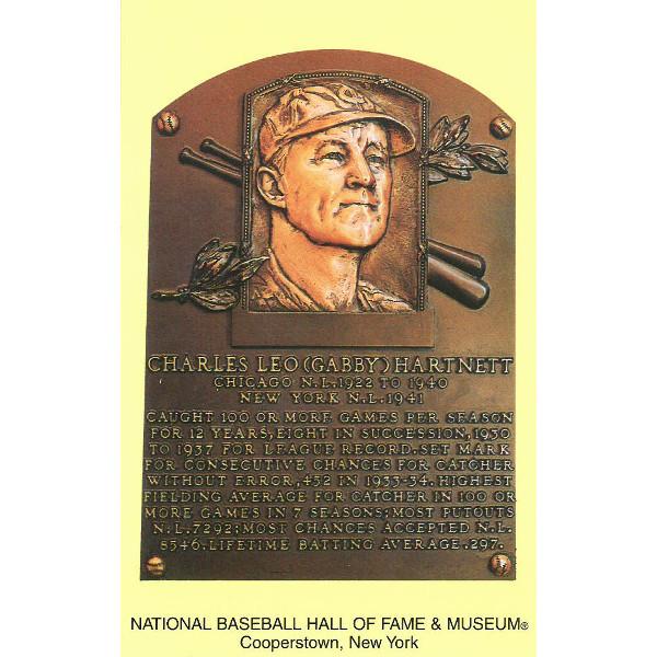 Gabby Hartnett Baseball Hall of Fame Plaque Postcard