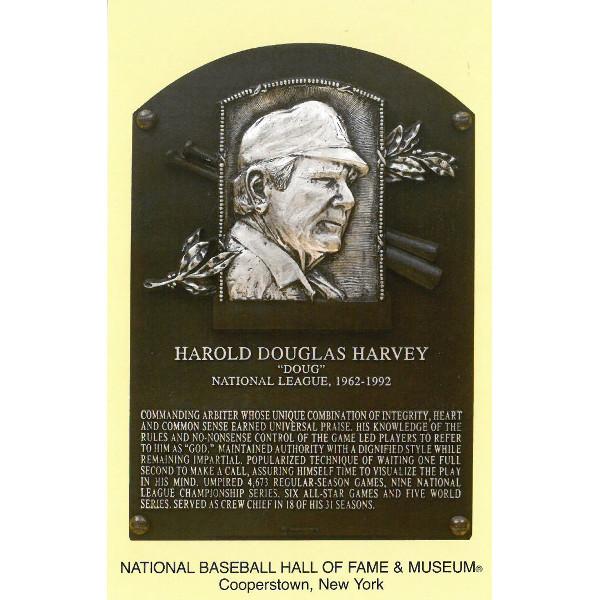 Doug Harvey Baseball Hall of Fame Plaque Postcard