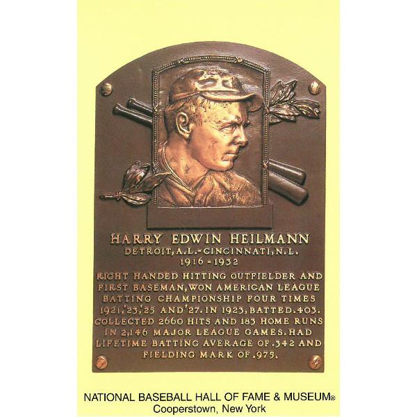 Harry Heilmann Baseball Hall of Fame Plaque Postcard
