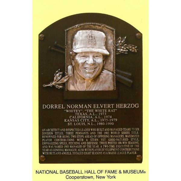 Whitey Herzog Baseball Hall of Fame Plaque Postcard