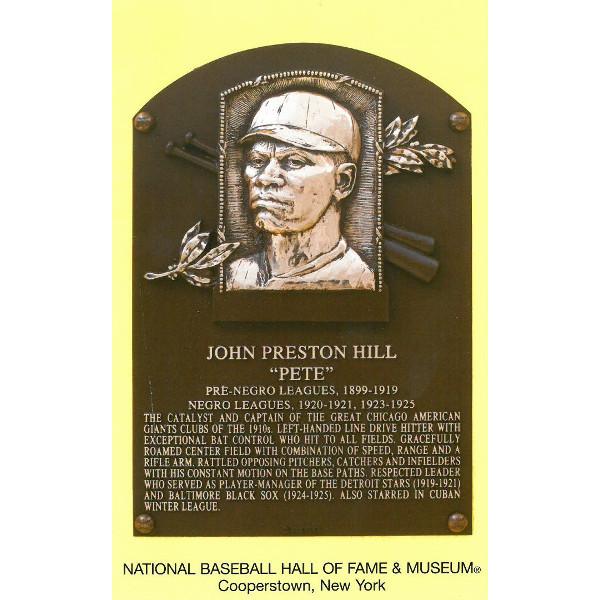 Pete Hill Baseball Hall of Fame Plaque Postcard