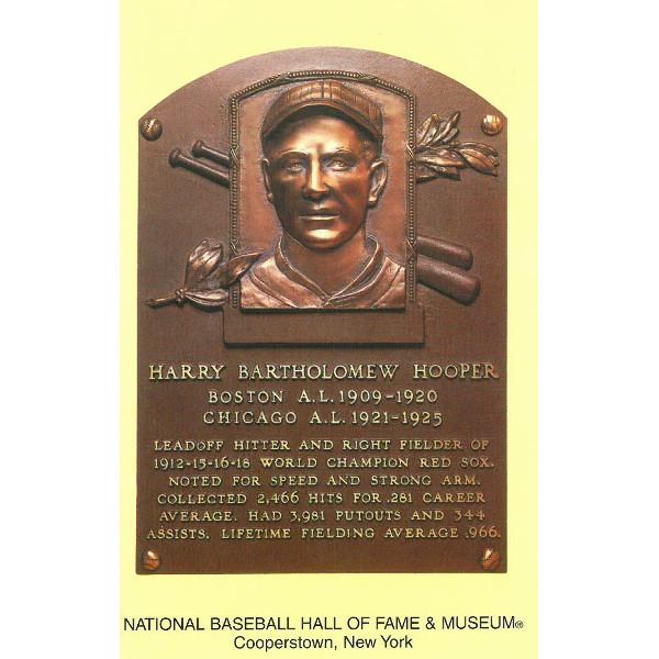Harry Hooper Baseball Hall of Fame Plaque Postcard
