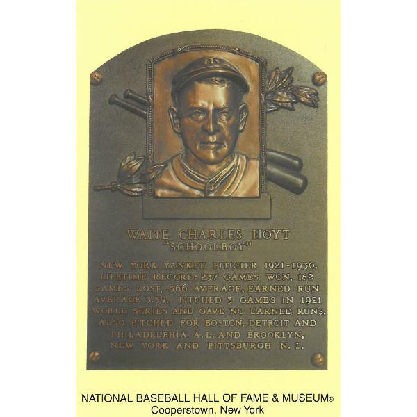 Waite Hoyt Baseball Hall of Fame Plaque Postcard